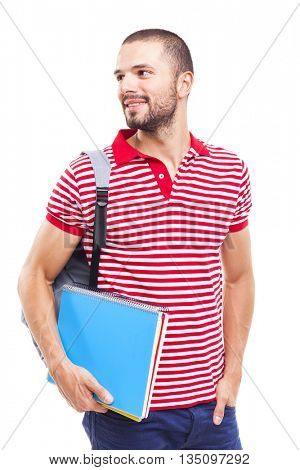 Smiling male student looking forward, isolated on white background