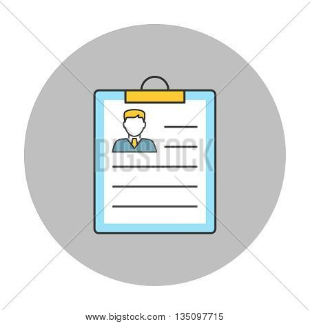 Resume concept line icon. Resume employee on clipboard