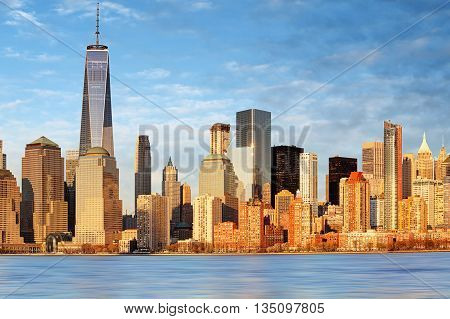 Lower Manhattan skyscrapers and One World Trade Center New York City