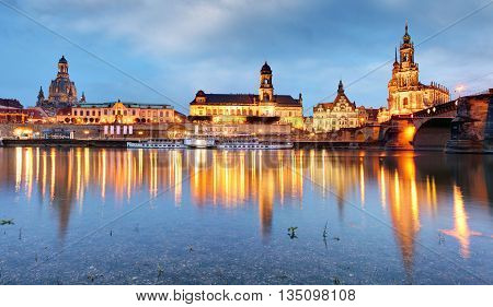 Dresden Germany above the Elbe River at night.