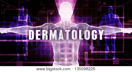 Dermatology as a Digital Technology Medical Concept Art 3d Illustration Render