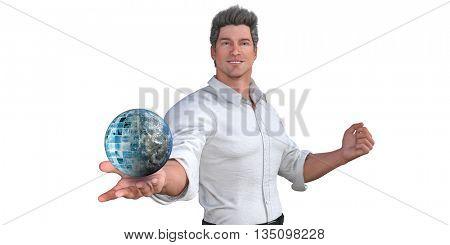 Man Presenting a Business Technology Solution Presentation Background 3d Illustration Render