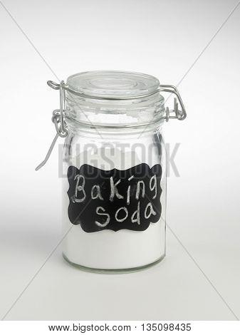 label baking soda o the white background