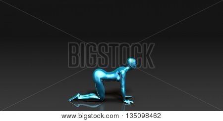 Yoga Class, the Table Basic Pose Stance 3D Illustration Render