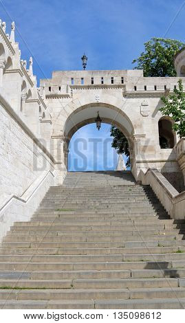 long staircase leading up to the Fisherman's Bastion on Buda Hill in Budapest Hungary