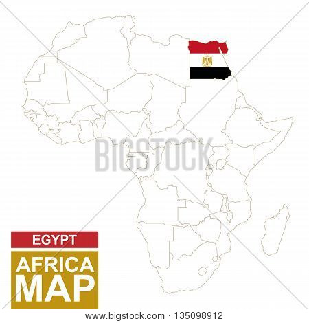 Africa Contoured Map With Highlighted Egypt.