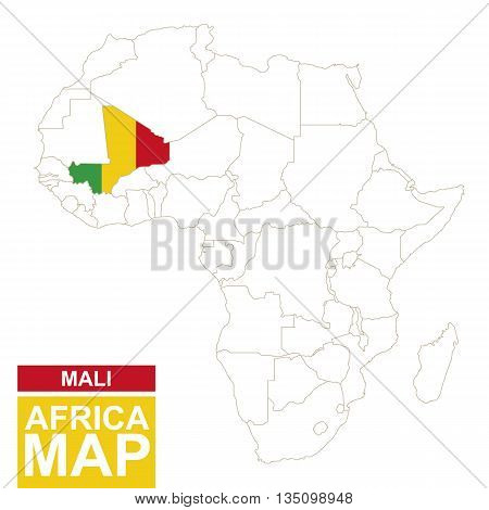 Africa Contoured Map With Highlighted Mali.