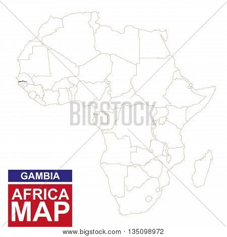 Africa Contoured Map With Highlighted Gambia.