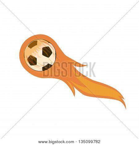 flying soccer ball on fire isolated on white background, vector illustration for sticker