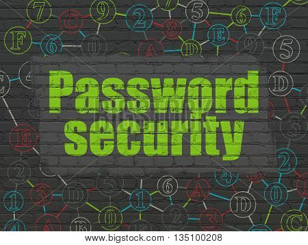 Security concept: Painted green text Password Security on Black Brick wall background with Scheme Of Hexadecimal Code