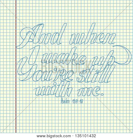 Bible lettering. Christian art. Psalm inscription. Hand drawn vector stock illustration. Sheet ballpen drawing