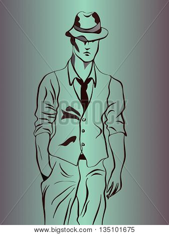 sketch of a young man in a hat and tie wearing a jacket with short sleeves