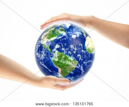 Hands around Earth globe isolated on white. Elements of this image furnished by NASA.