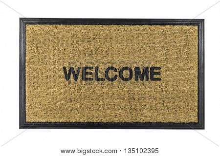 Welcome mat isolated on white with clipping path.