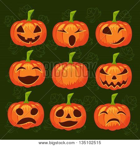 Vector set of pumpkins. Halloween design emotion laughing angry smiling sad scary evil winking smile. Jack lantern for website flier invitstion card