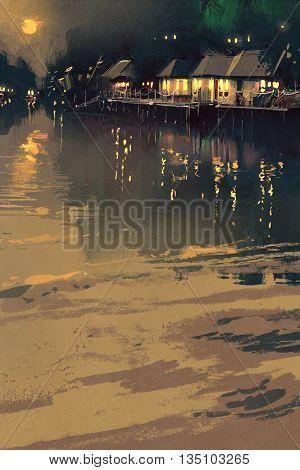 village beside river, night scene landscape, illustration painting