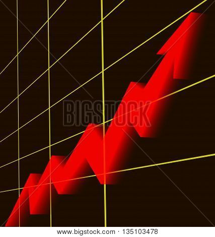 A red arrow rising graphic chart with gold grid and black background