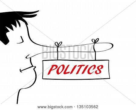 Man with a very long nose associated with telling lies from which there is a sign hanging with the word politics added in red text