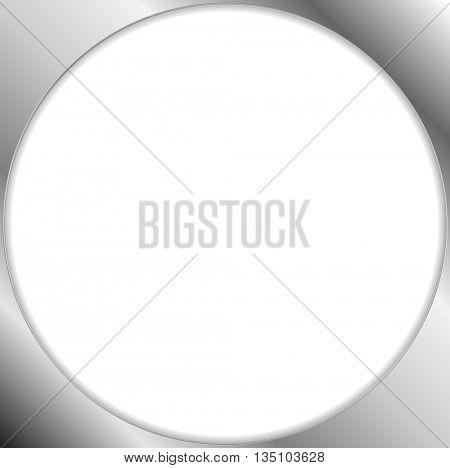 Abstract metallic silver blank circle frame. Vector chrome design
