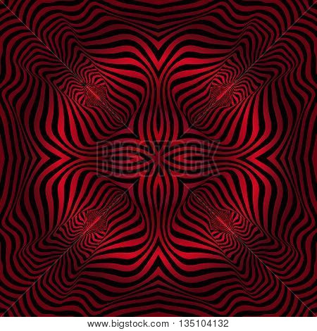 texture pattern illusion of the lines in the form of a symmetrical convex rhombus in a square on a background of red gradient