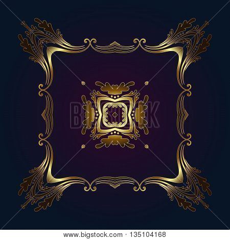 Vector vintage border frame engraving with retro ornament pattern in antique rococo style decorative design gold and bue