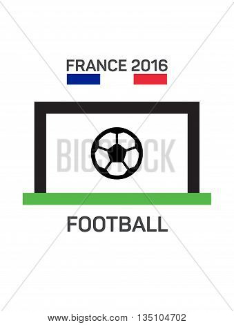 Football or soccer  logo. French tricolor. The concept of soccer logo, symbol, sign. Soccer goal with the ball