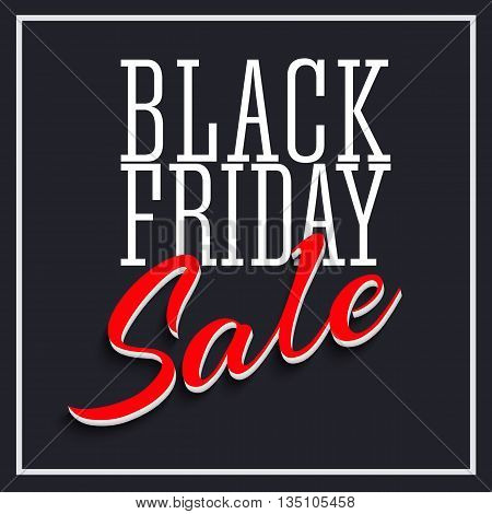 Sale Poster with Frame and Shadow. Clearance black friday banner on black background. Sale and discounts template. Vector editable flyer, easy to change size