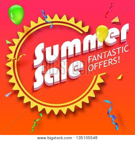 Summer sale advertisement, fantastic offers. Colorful expressive, attention-drawing banner with balloons, serpentine and confetti. Hot, red background. Vector editable symbol, easy to change size