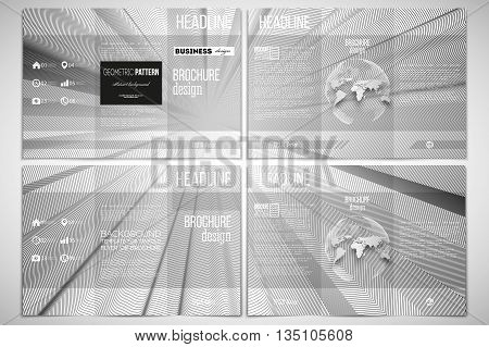 Vector set of tri-fold brochure design template on both sides with world globe element. Abstract lines background, simple abstract monochrome texture.