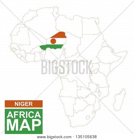 Africa Contoured Map With Highlighted Niger.