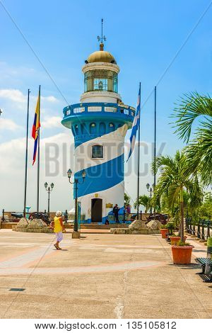 Lighthouse At Santa Ana Hill, Guayaquil In Ecuador