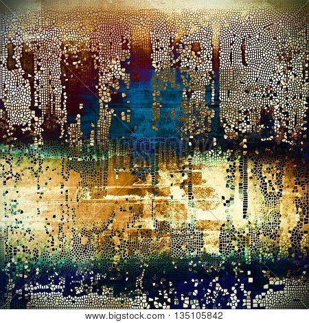 Old grunge vintage background or shabby texture with different color patterns: yellow (beige); brown; green; blue; red (orange); black