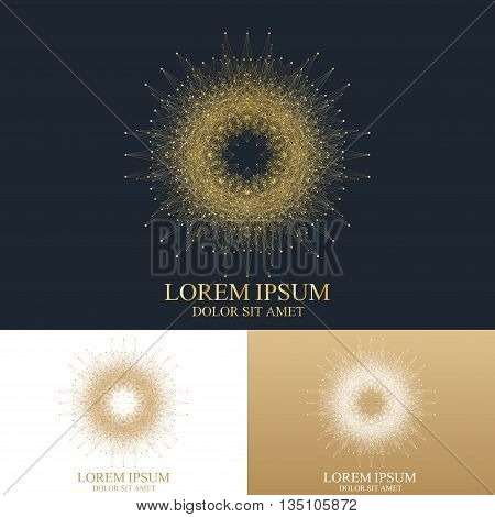 Geometric abstract round Symbol with connected line and dots. Graphic composition for medicine, science, technology , chemistry. Vector Sign Template. Luxury golden solutions design.