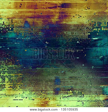 Antique texture, weathered background with vintage look and different color patterns: yellow (beige); brown; green; blue; red (orange); purple (violet)
