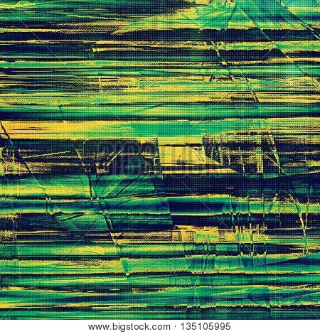 Sharp textured background, aged vintage backdrop with grungy style elements and different color patterns: yellow (beige); green; blue; cyan