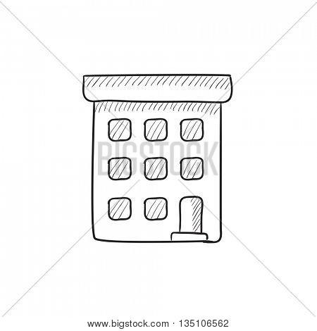 Condominium building vector sketch icon isolated on background. Hand drawn Condominium building icon. Condominium building sketch icon for infographic, website or app.