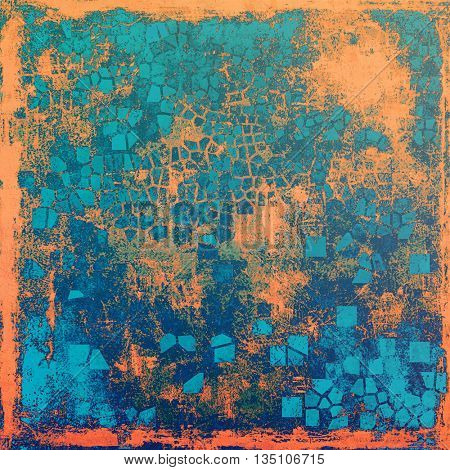 Old, grunge background or damaged texture in retro style. With different color patterns: blue; red (orange); gray; cyan
