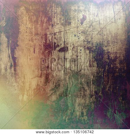 Abstract vintage background with faded grungy texture. Aged backdrop with different color patterns: yellow (beige); brown; green; purple (violet); gray; pink