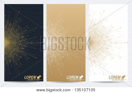 Modern set of vector flyers. Molecule and communication background. Geometric abstract round golden forms. Connected line with dots. Graphic composition for your design.