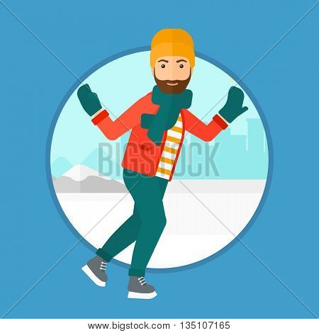 A hipster man with the beard ice skating on frozen lake on a city background. Young sportsman ice skating outdoors on a pond. Vector flat design illustration in the circle isolated on background.