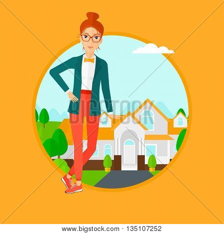 Female real estate agent standing near the house. Real estate agent leaning on the house. Real estate agent offering house. Vector flat design illustration in the circle isolated on background.