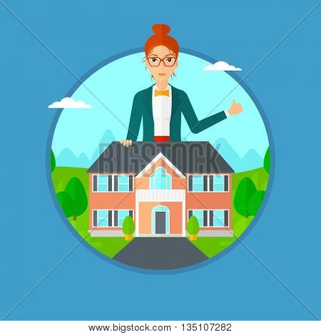 Woman standing behind the house and showing thumb up. Female real estate agent offering the house. Young woman giving thumb up. Vector flat design illustration in the circle isolated on background.