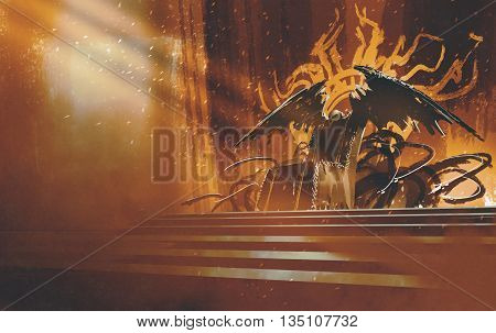 dark fantasy throne with brown curtains background, illustration