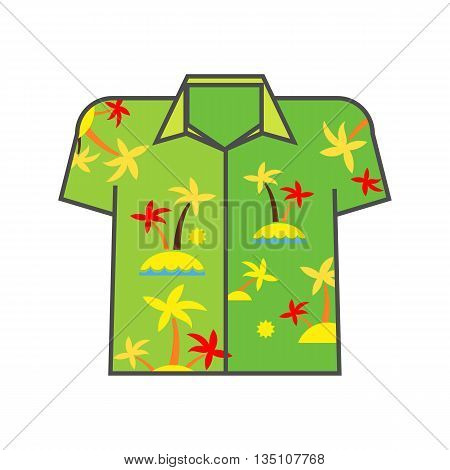 Aloha shirt vector icon. Colored line icon of shirt with palm trees