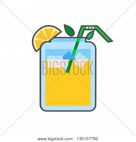 Asian summer drink vector icon. Colored line icon of refreshing drink in Asian style