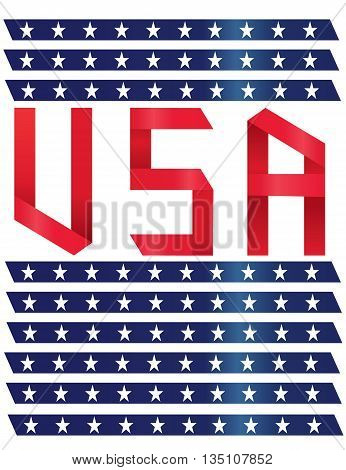 usa text ribbon style on isolated background