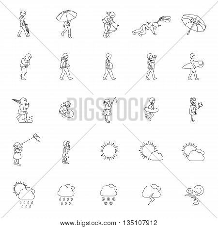 People and Weather outlines vector icons collection