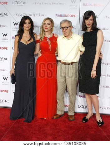 Woody Allen, Rebecca Hall, Scarlett Johansson and Penelope Cruz at the Los Angeles premiere of 'Vicky Cristina Barcelona' held at the Mann Village Theater in Westwood, USA on August 8, 2008.
