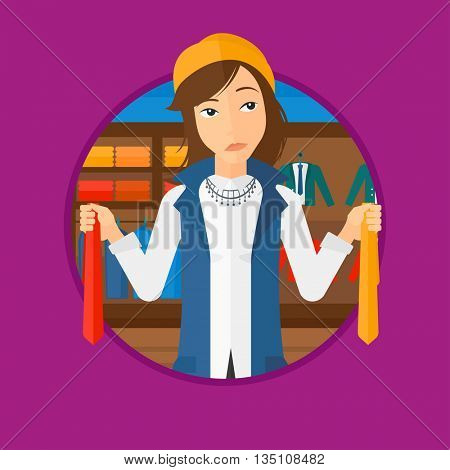 Thoughtful woman holding two neckties and trying to choose the best one. Female customer choosing necktie at clothing store. Vector flat design illustration in the circle isolated on background.