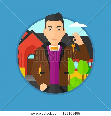 Young male real estate agent holding key. Man with keys standing in front of the house. Happy new owner of a house. Vector flat design illustration in the circle isolated on background.